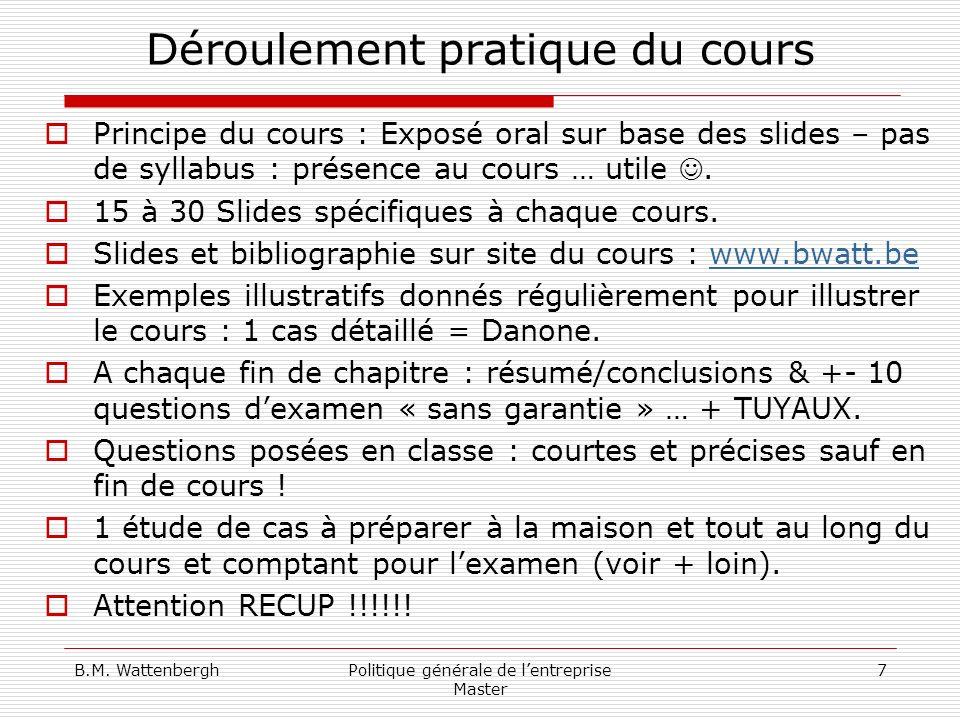 B.M.WattenberghPolitique générale de lentreprise Master 18 Bibliographie … .