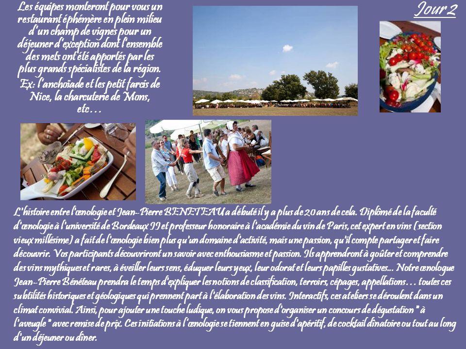 Jour 2 Les équipes monteront pour vous un restaurant éphémère en plein milieu dun champ de vignes pour un déjeuner dexception dont lensemble des mets ont été apportés par les plus grands spécialistes de la région.