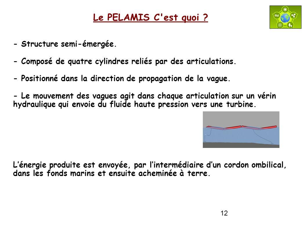 12 Le PELAMIS C'est quoi ? - Structure semi-émergée. - Composé de quatre cylindres reliés par des articulations. - Positionné dans la direction de pro