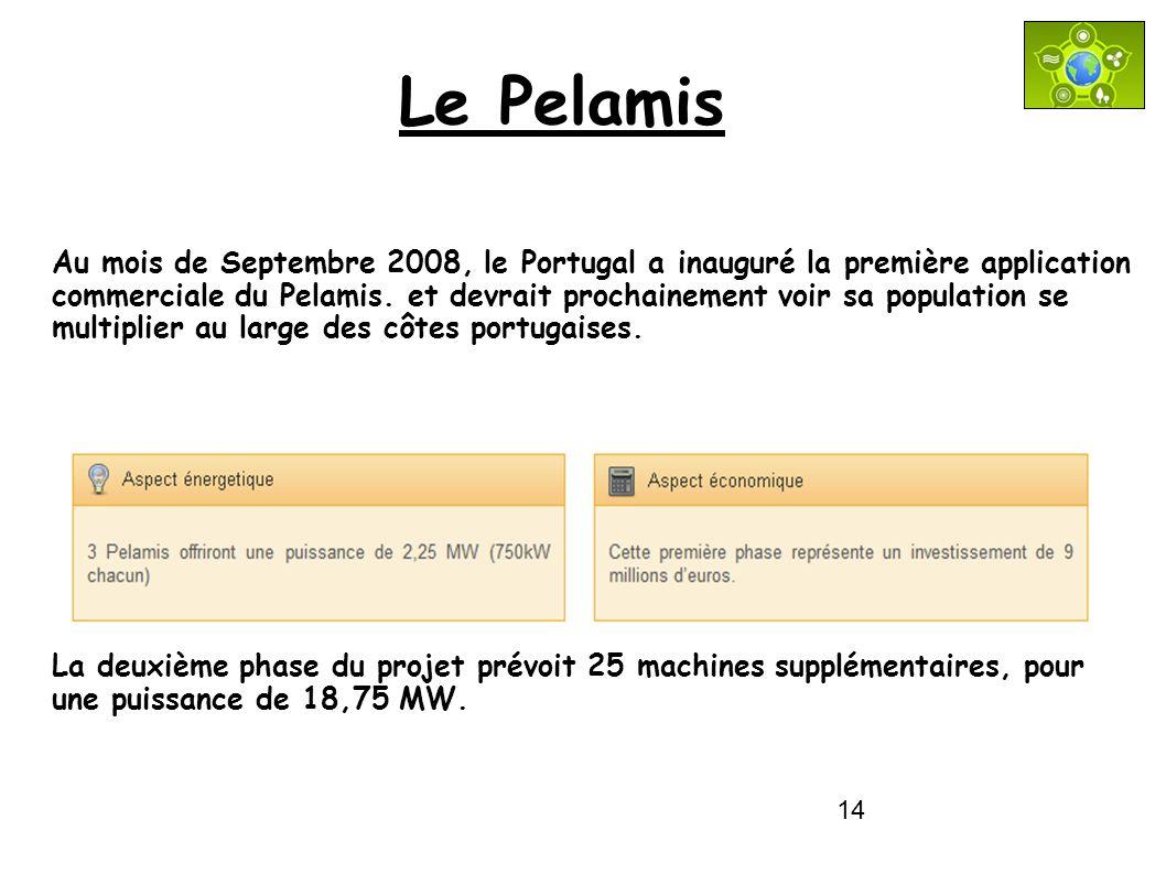 14 Le Pelamis Au mois de Septembre 2008, le Portugal a inauguré la première application commerciale du Pelamis. et devrait prochainement voir sa popul
