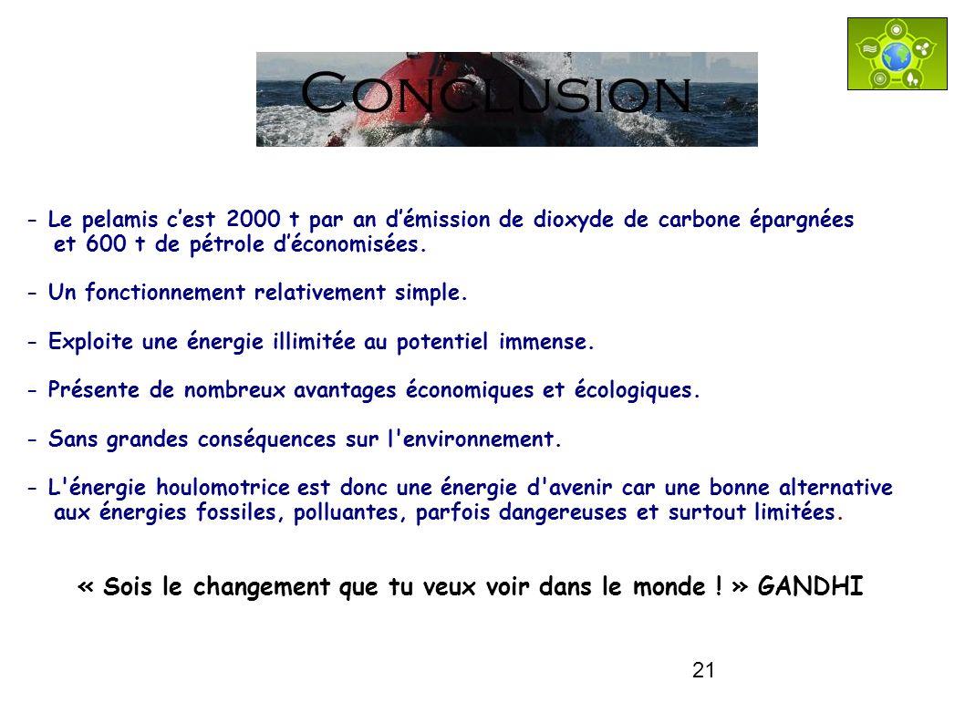 21 Conclusion « Sois le changement que tu veux voir dans le monde ! » GANDHI - Le pelamis cest 2000 t par an démission de dioxyde de carbone épargnées