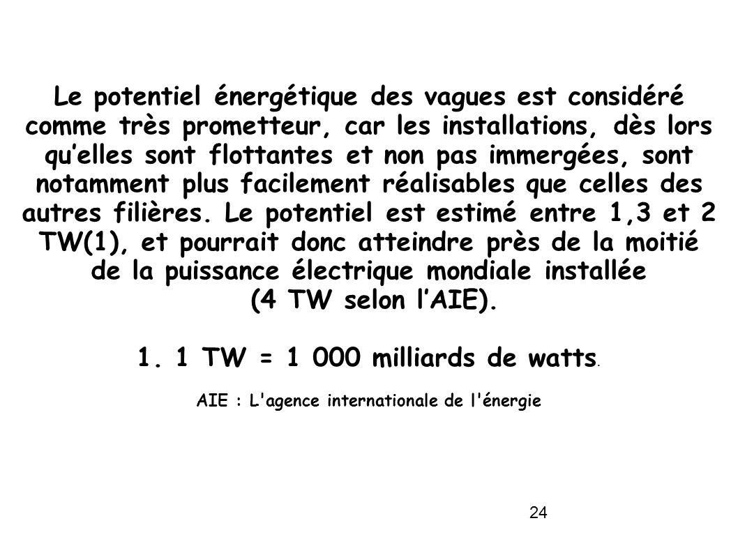 24 Le potentiel énergétique des vagues est considéré comme très prometteur, car les installations, dès lors quelles sont flottantes et non pas immergé