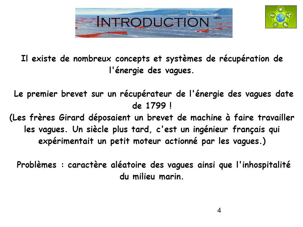 4 INTRODUCTION Il existe de nombreux concepts et systèmes de récupération de l'énergie des vagues. Le premier brevet sur un récupérateur de l'énergie