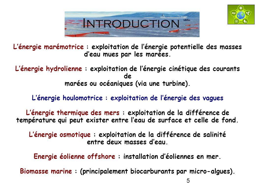 5 Lénergie marémotrice : exploitation de lénergie potentielle des masses deau mues par les marées. Lénergie hydrolienne : exploitation de lénergie cin