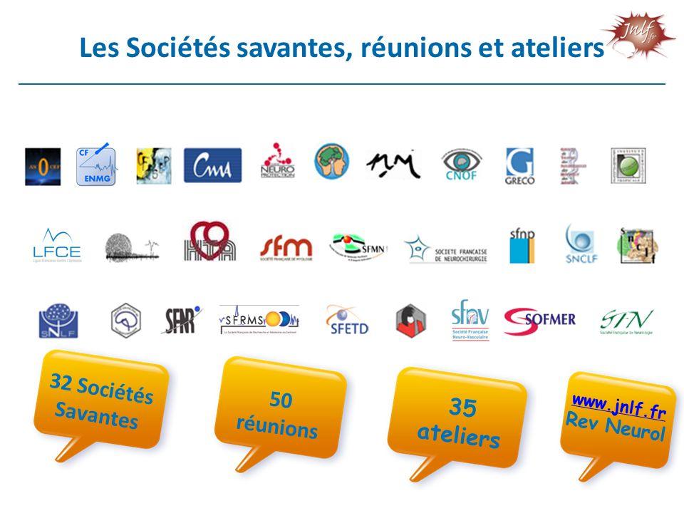 Les Sociétés savantes, réunions et ateliers 32 Sociétés Savantes 50 réunions 35 ateliers www.jnlf.fr Rev Neurol