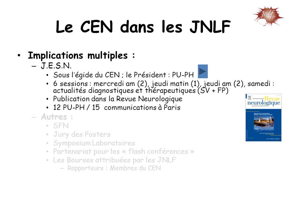 Le CEN dans les JNLF Implications multiples : – J.E.S.N. Sous légide du CEN ; le Président : PU-PH 6 sessions : mercredi am (2), jeudi matin (1), jeud