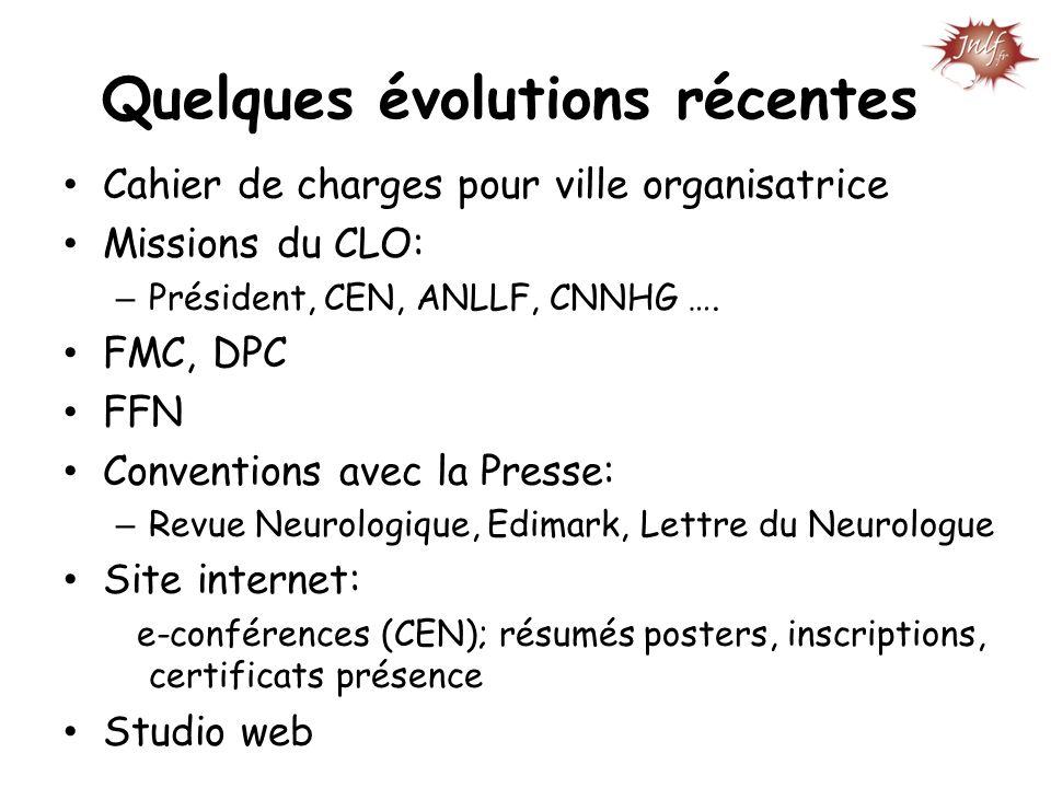 Cahier de charges pour ville organisatrice Missions du CLO: – Président, CEN, ANLLF, CNNHG …. FMC, DPC FFN Conventions avec la Presse: – Revue Neurolo