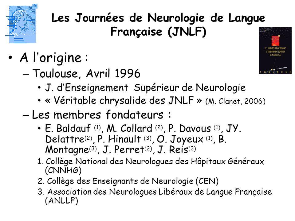 A lorigine : – Toulouse, Avril 1996 J. dEnseignement Supérieur de Neurologie « Véritable chrysalide des JNLF » (M. Clanet, 2006) – Les membres fondate