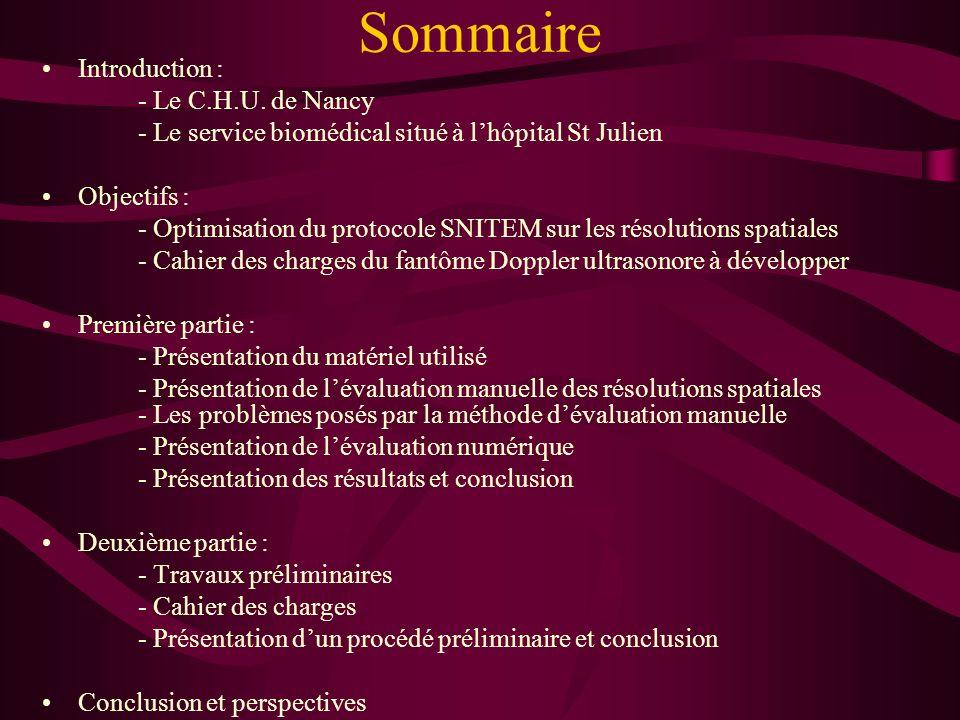 Binse Jérôme Service biomédical CHU de Nancy Stage de Master 2 spécialité Ingénierie biomédicale et radiothérapie – 2005/2006 OPTIMISATION DU PROTOCOL