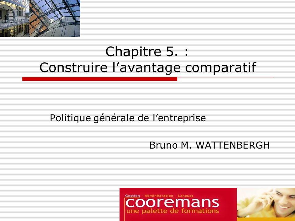 Chapitre 5. : Construire lavantage comparatif Politique générale de lentreprise Bruno M. WATTENBERGH