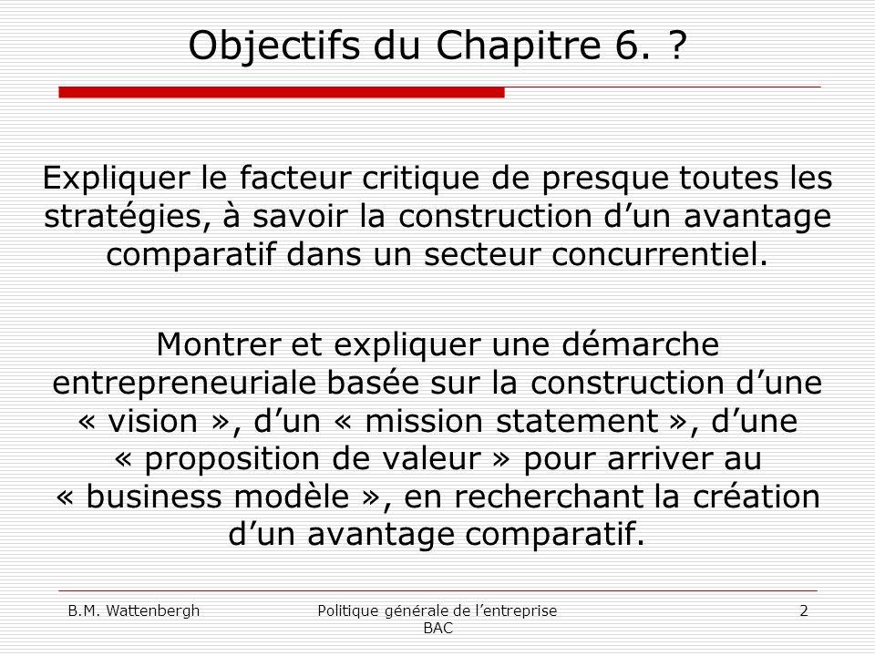B.M. WattenberghPolitique générale de lentreprise BAC 2 Objectifs du Chapitre 6. ? Expliquer le facteur critique de presque toutes les stratégies, à s