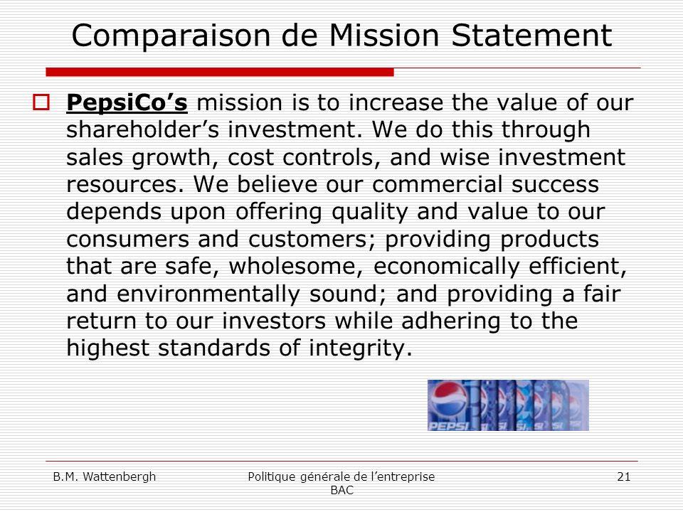 B.M. WattenberghPolitique générale de lentreprise BAC 21 Comparaison de Mission Statement PepsiCos mission is to increase the value of our shareholder
