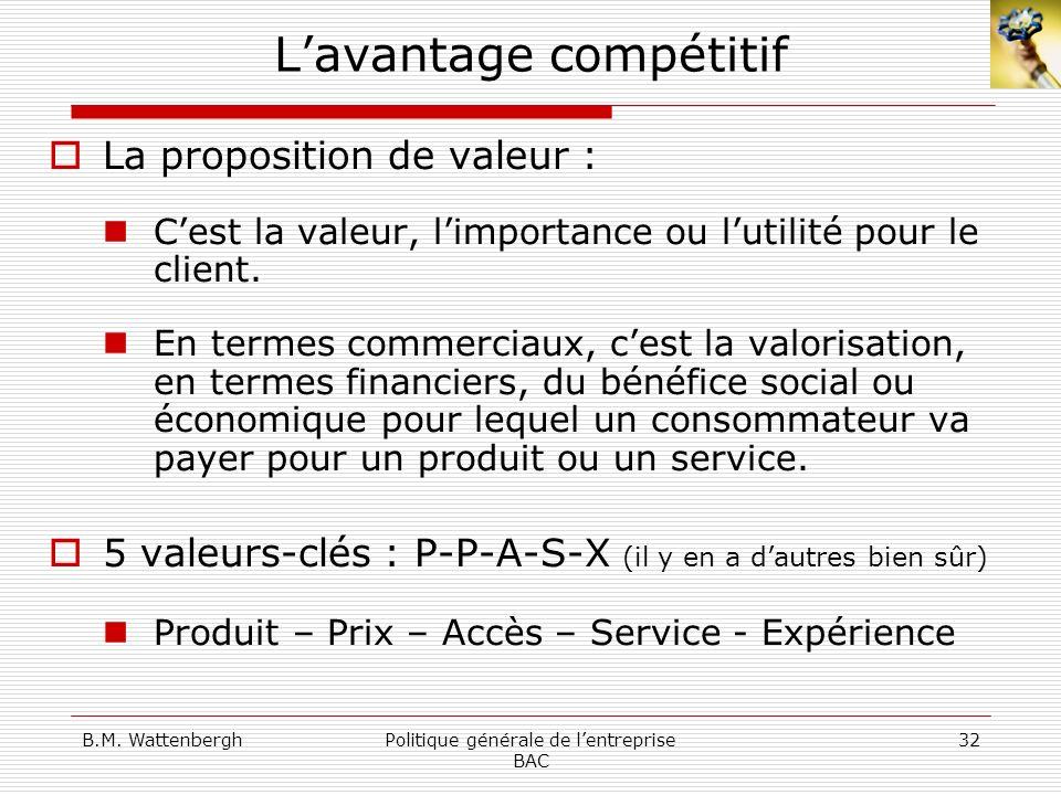 B.M. WattenberghPolitique générale de lentreprise BAC 32 Lavantage compétitif La proposition de valeur : Cest la valeur, limportance ou lutilité pour