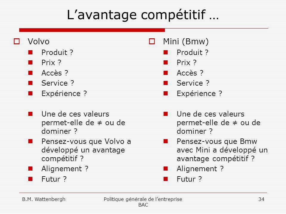 B.M. WattenberghPolitique générale de lentreprise BAC 34 Lavantage compétitif … Volvo Produit ? Prix ? Accès ? Service ? Expérience ? Une de ces valeu