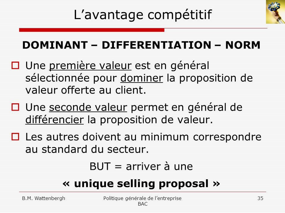 B.M. WattenberghPolitique générale de lentreprise BAC 35 Lavantage compétitif DOMINANT – DIFFERENTIATION – NORM Une première valeur est en général sél
