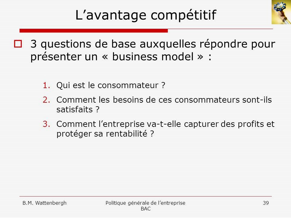 B.M. WattenberghPolitique générale de lentreprise BAC 39 Lavantage compétitif 3 questions de base auxquelles répondre pour présenter un « business mod