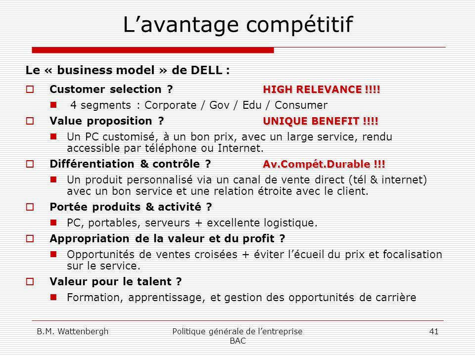 B.M. WattenberghPolitique générale de lentreprise BAC 41 Lavantage compétitif Le « business model » de DELL : HIGH RELEVANCE !!!! Customer selection ?