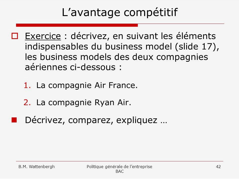 B.M. WattenberghPolitique générale de lentreprise BAC 42 Lavantage compétitif Exercice : décrivez, en suivant les éléments indispensables du business