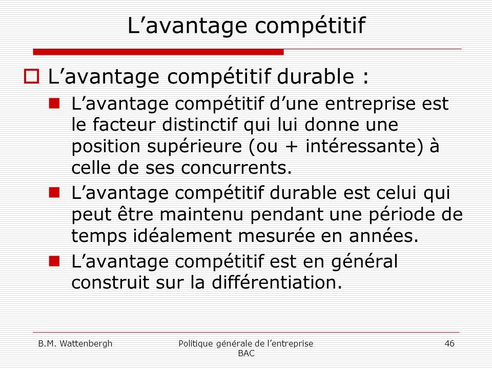 B.M. WattenberghPolitique générale de lentreprise BAC 46 Lavantage compétitif Lavantage compétitif durable : Lavantage compétitif dune entreprise est