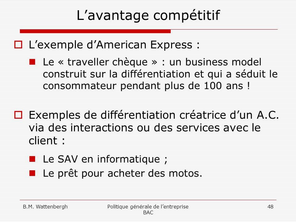 B.M. WattenberghPolitique générale de lentreprise BAC 48 Lavantage compétitif Lexemple dAmerican Express : Le « traveller chèque » : un business model