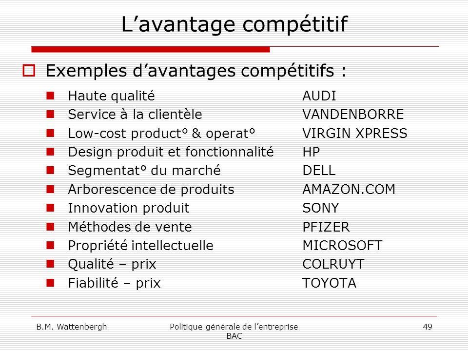 B.M. WattenberghPolitique générale de lentreprise BAC 49 Lavantage compétitif Exemples davantages compétitifs : Haute qualité AUDI Service à la client