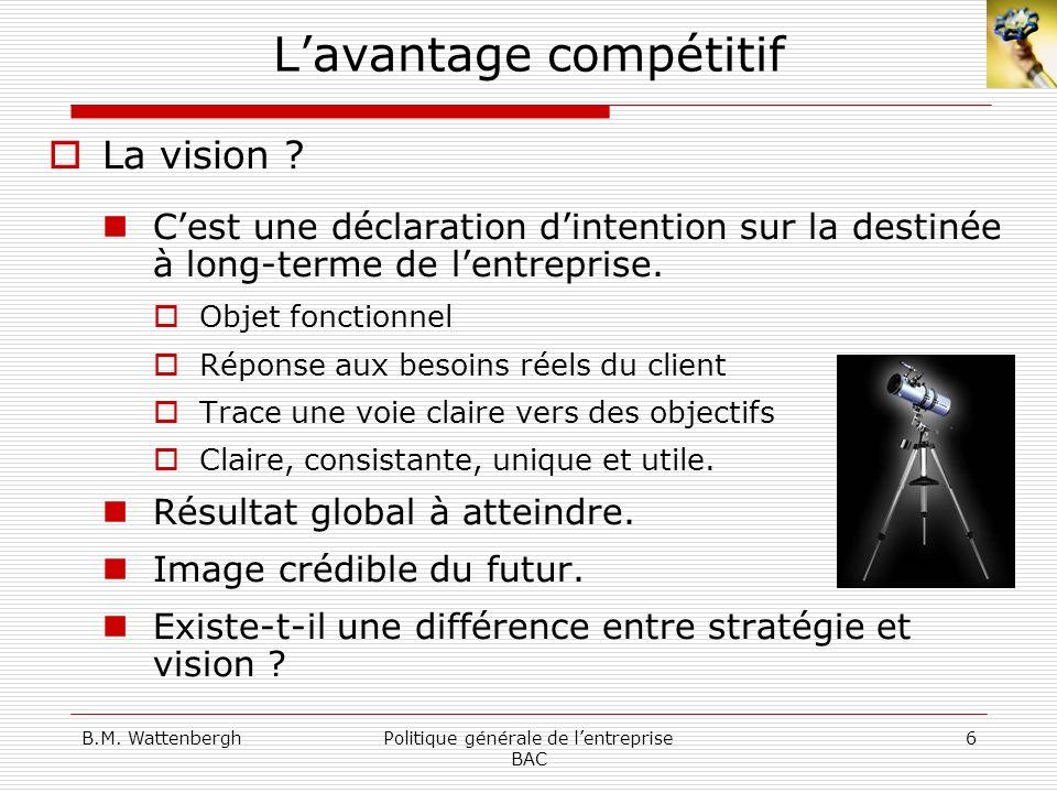B.M. WattenberghPolitique générale de lentreprise BAC 6 Lavantage compétitif La vision ? Cest une déclaration dintention sur la destinée à long-terme