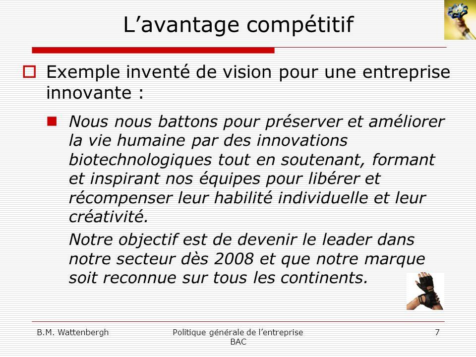 B.M. WattenberghPolitique générale de lentreprise BAC 7 Lavantage compétitif Exemple inventé de vision pour une entreprise innovante : Nous nous batto