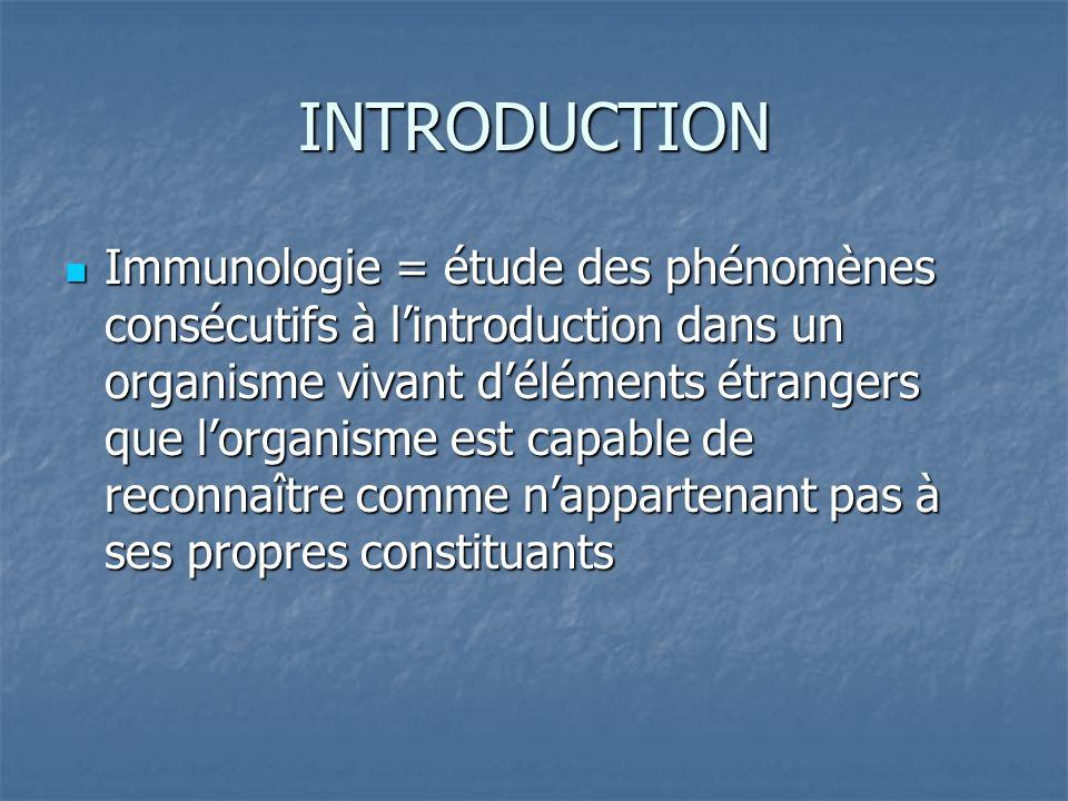 INTRODUCTION Immunologie = étude des phénomènes consécutifs à lintroduction dans un organisme vivant déléments étrangers que lorganisme est capable de