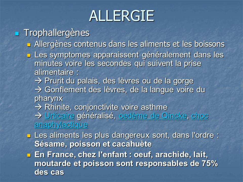 ALLERGIE Trophallergènes Trophallergènes Allergènes contenus dans les aliments et les boissons Allergènes contenus dans les aliments et les boissons L