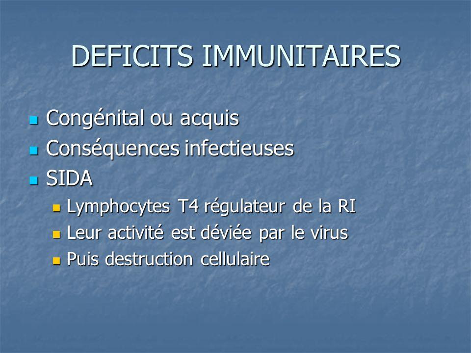 DEFICITS IMMUNITAIRES Congénital ou acquis Congénital ou acquis Conséquences infectieuses Conséquences infectieuses SIDA SIDA Lymphocytes T4 régulateu