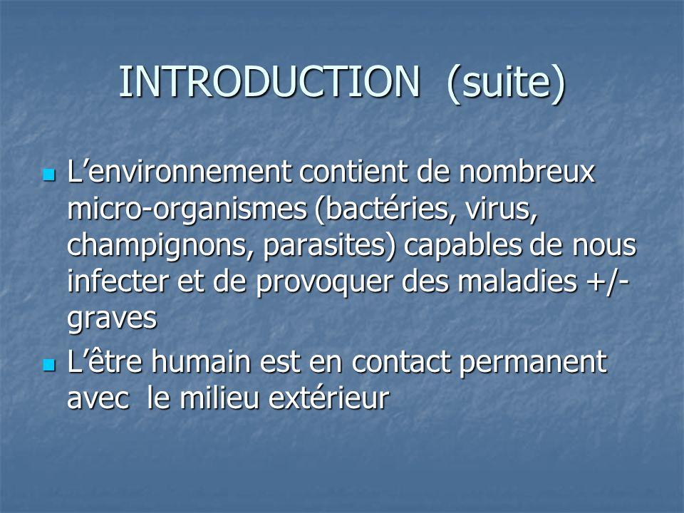 INTRODUCTION (suite) Lenvironnement contient de nombreux micro-organismes (bactéries, virus, champignons, parasites) capables de nous infecter et de p