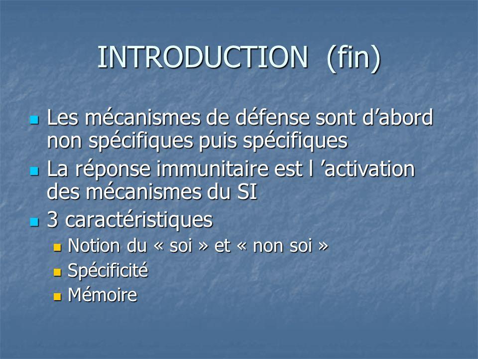 INTRODUCTION (fin) Les mécanismes de défense sont dabord non spécifiques puis spécifiques Les mécanismes de défense sont dabord non spécifiques puis s