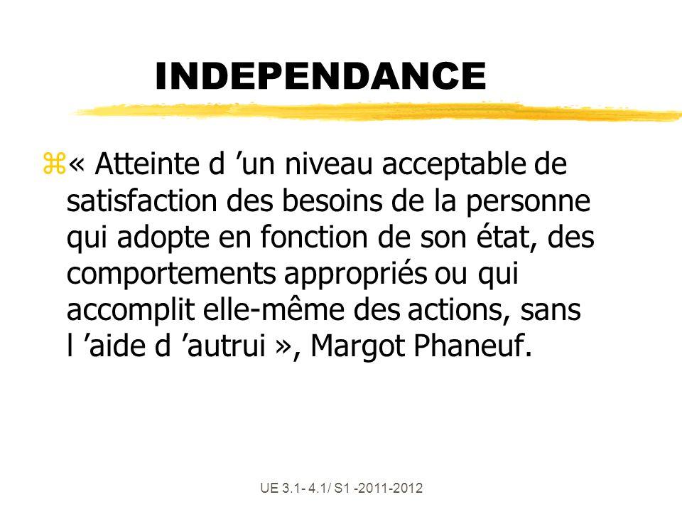 UE 3.1- 4.1/ S1 -2011-2012 INDEPENDANCE z« Atteinte d un niveau acceptable de satisfaction des besoins de la personne qui adopte en fonction de son ét