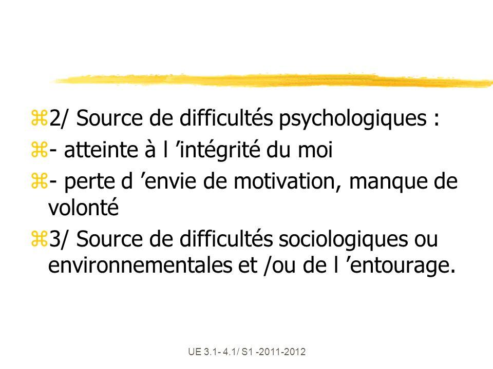 UE 3.1- 4.1/ S1 -2011-2012 z2/ Source de difficultés psychologiques : z- atteinte à l intégrité du moi z- perte d envie de motivation, manque de volon