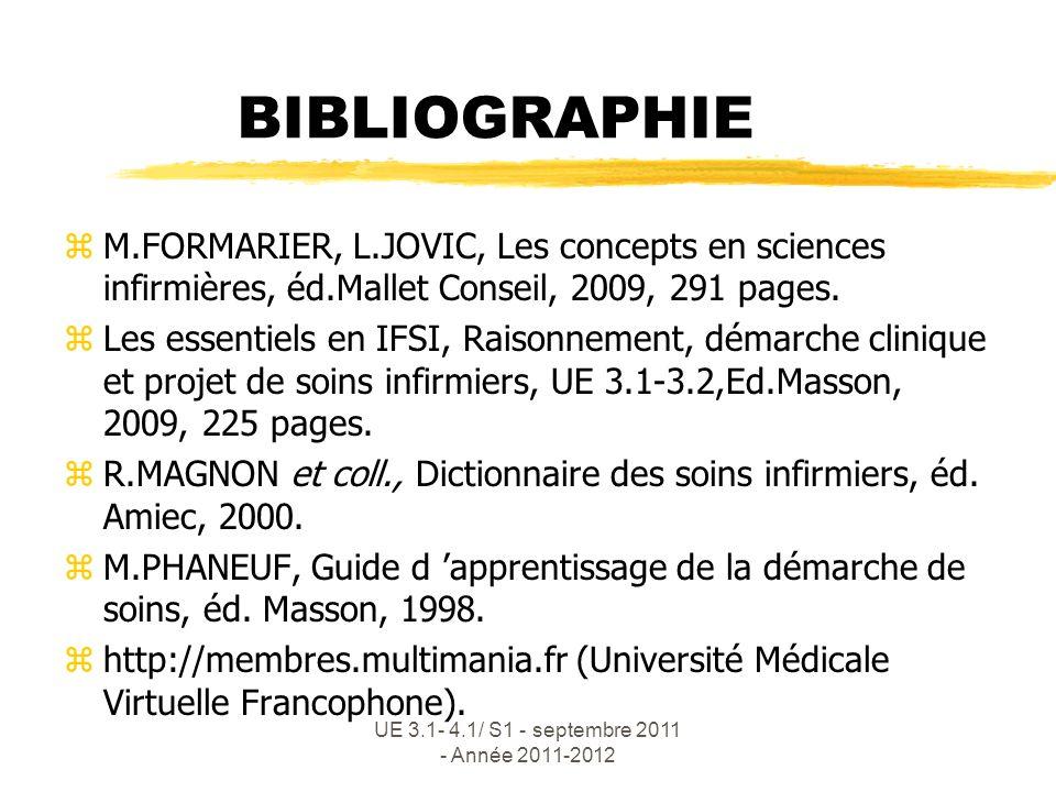 UE 3.1- 4.1/ S1 - septembre 2011 - Année 2011-2012 BIBLIOGRAPHIE zM.FORMARIER, L.JOVIC, Les concepts en sciences infirmières, éd.Mallet Conseil, 2009,