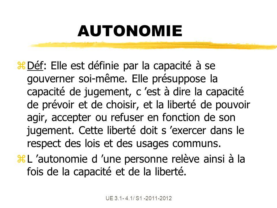 UE 3.1- 4.1/ S1 -2011-2012 z4 Attributs du concept : z Décider pour soi en fonction de critères personnels zMaîtriser son environnement mais aussi son autolimitation zConsciemment, assumer les conséquences, être responsable zGérer ses dépendances (interdépendance à autrui)