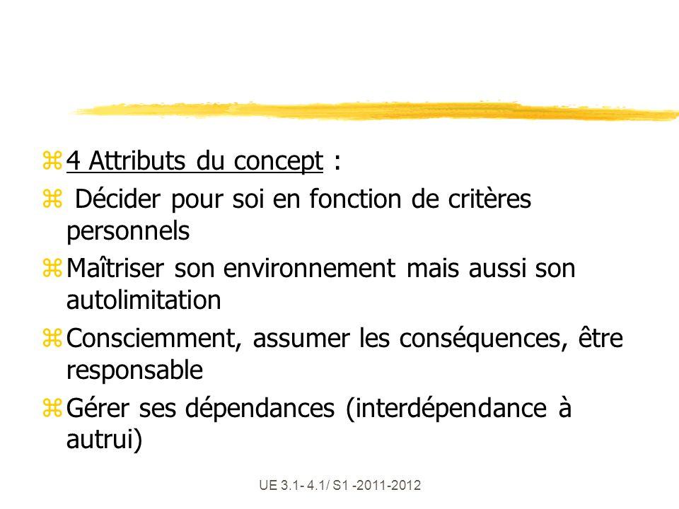 UE 3.1- 4.1/ S1 -2011-2012 z4 Attributs du concept : z Décider pour soi en fonction de critères personnels zMaîtriser son environnement mais aussi son