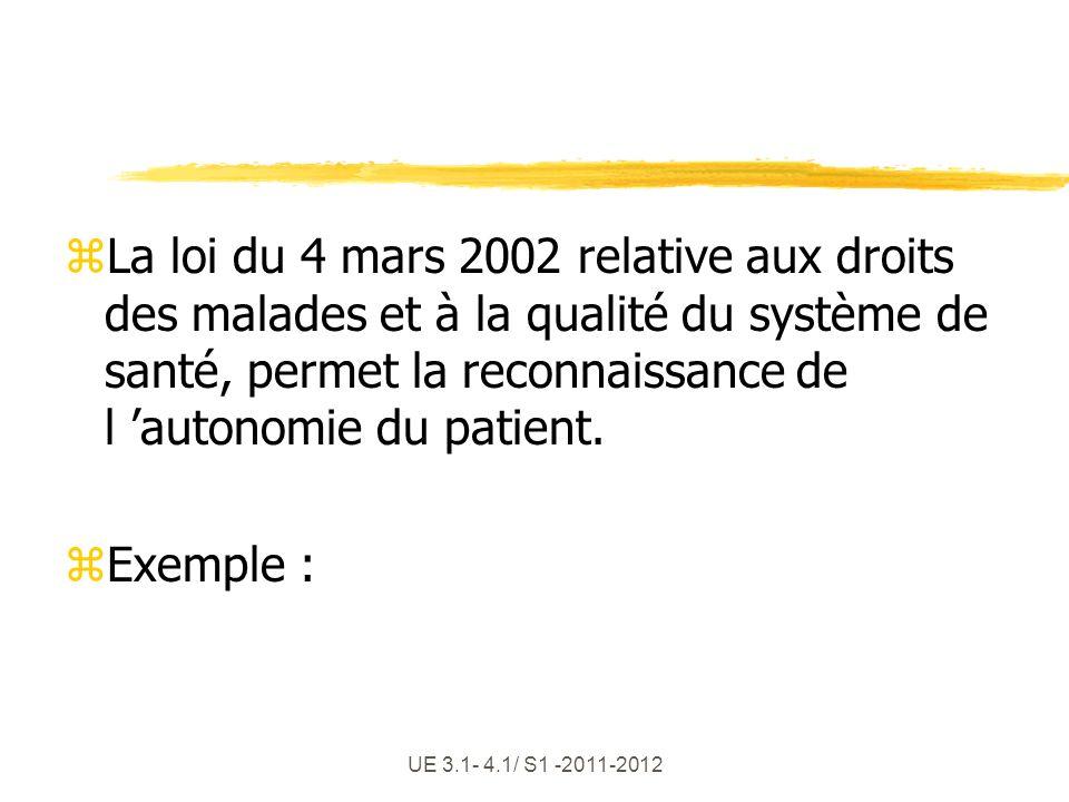 UE 3.1- 4.1/ S1 -2011-2012 zLa loi du 4 mars 2002 relative aux droits des malades et à la qualité du système de santé, permet la reconnaissance de l a