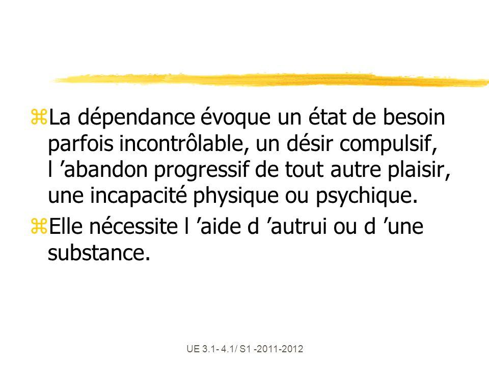 UE 3.1- 4.1/ S1 -2011-2012 zLa dépendance évoque un état de besoin parfois incontrôlable, un désir compulsif, l abandon progressif de tout autre plais