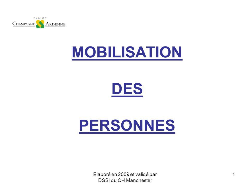 Elaboré en 2009 et validé par DSSI du CH Manchester 1 MOBILISATION DES PERSONNES