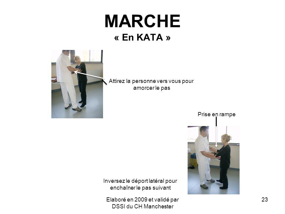 Elaboré en 2009 et validé par DSSI du CH Manchester 23 MARCHE « En KATA » Attirez la personne vers vous pour amorcer le pas Prise en rampe Inversez le