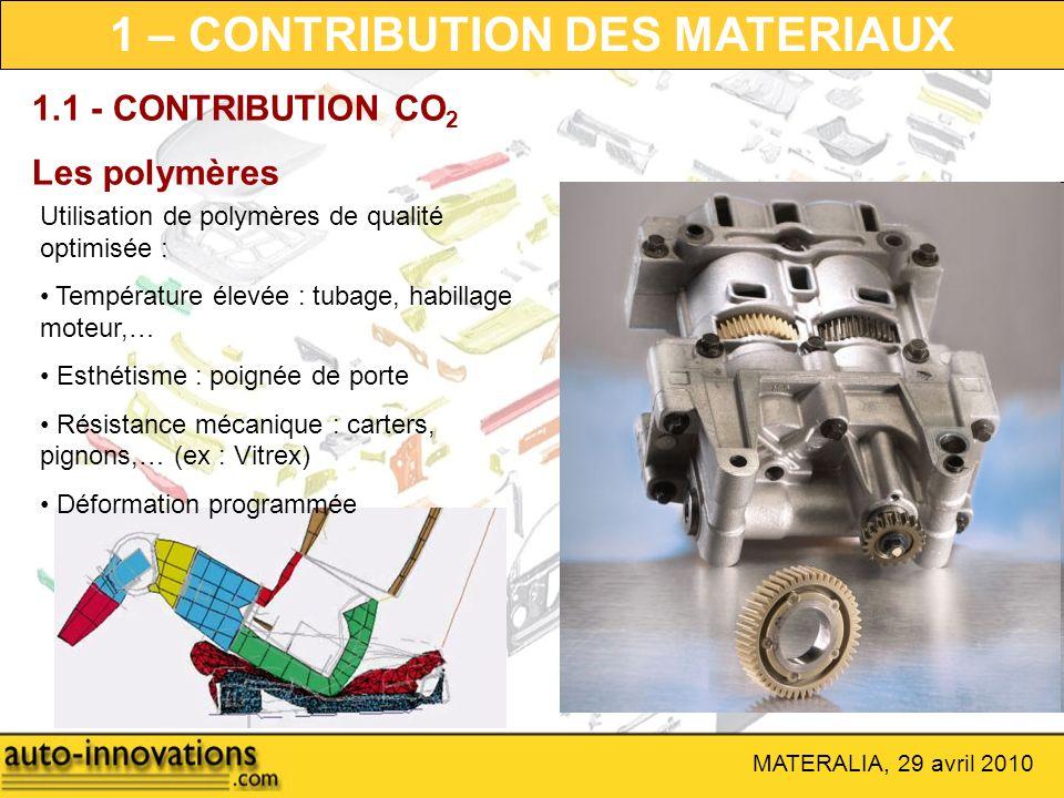 MATERALIA, 29 avril 2010 1.1 - CONTRIBUTION CO 2 Les polymères Utilisation de polymères de qualité optimisée : Température élevée : tubage, habillage
