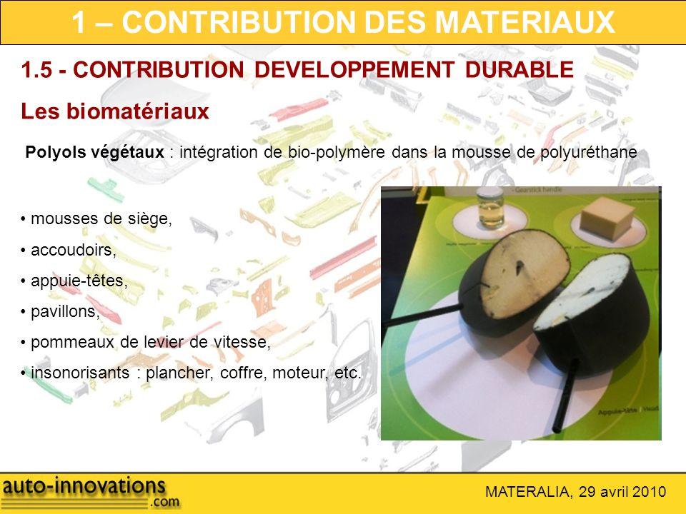 MATERALIA, 29 avril 2010 Polyols végétaux : intégration de bio-polymère dans la mousse de polyuréthane 1.5 - CONTRIBUTION DEVELOPPEMENT DURABLE Les bi