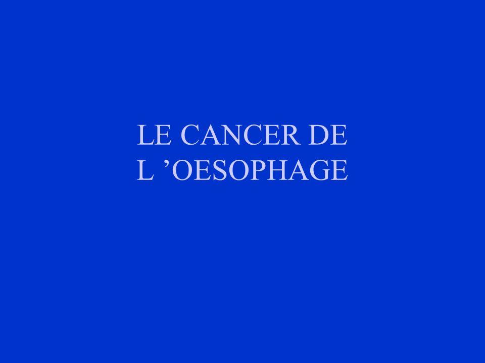 I- INTRODUCTION 15% des cancers digestifs Très mauvais pronostic: 5% survie à 5 ans Diagnostic: fibroscopie digestive + biopsies Traitement surtout chirurgical Amélioration du pronostic: - surveillance des sujets à risque - dépistage à un stade précoce