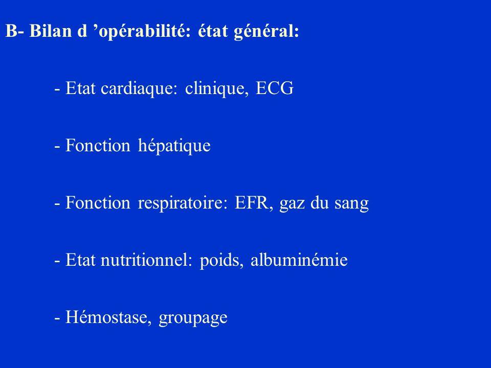 B- Bilan d opérabilité: état général: - Etat cardiaque: clinique, ECG - Fonction hépatique - Fonction respiratoire: EFR, gaz du sang - Etat nutritionn