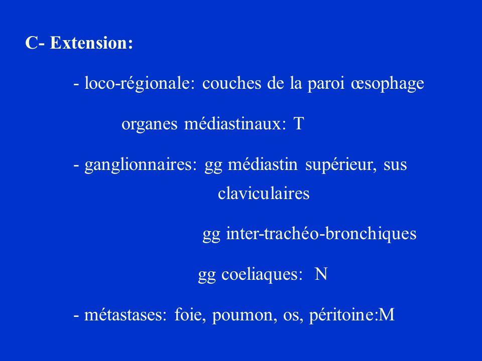C- Extension: - loco-régionale: couches de la paroi œsophage organes médiastinaux: T - ganglionnaires: gg médiastin supérieur, sus claviculaires gg in