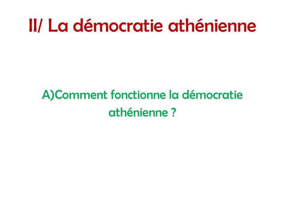 II/ La démocratie athénienne A)Comment fonctionne la démocratie athénienne ?