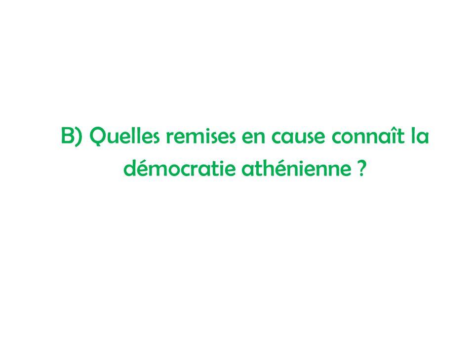 B) Quelles remises en cause connaît la démocratie athénienne ?