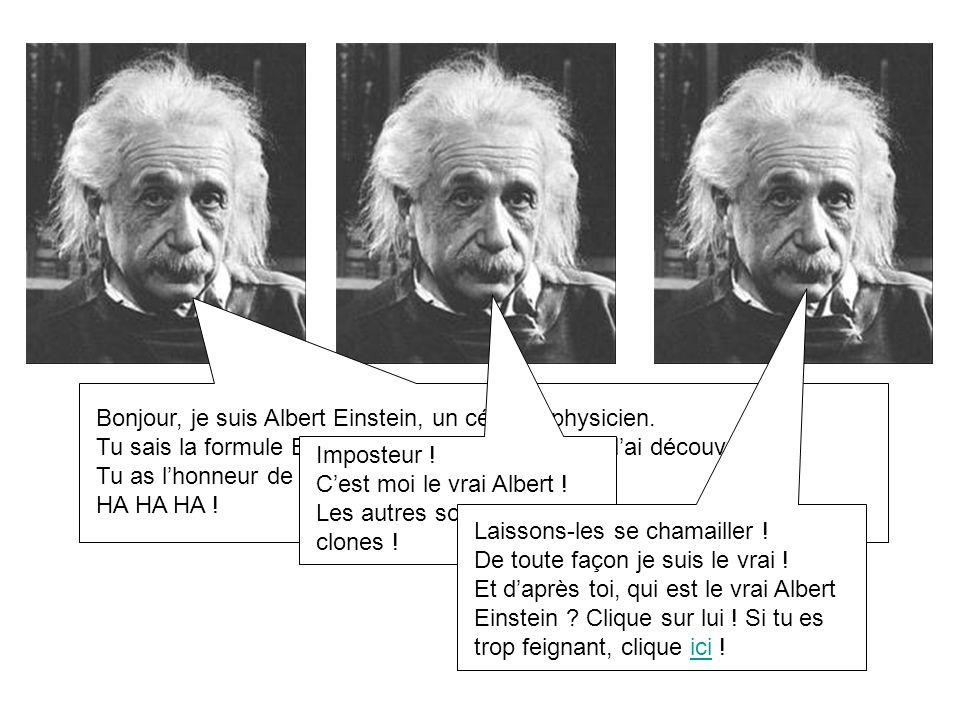 Bonjour, je suis Albert Einstein, un célèbre physicien. Tu sais la formule E=mc2 ? Et bien cest moi qui lai découverte! Tu as lhonneur de me rencontre