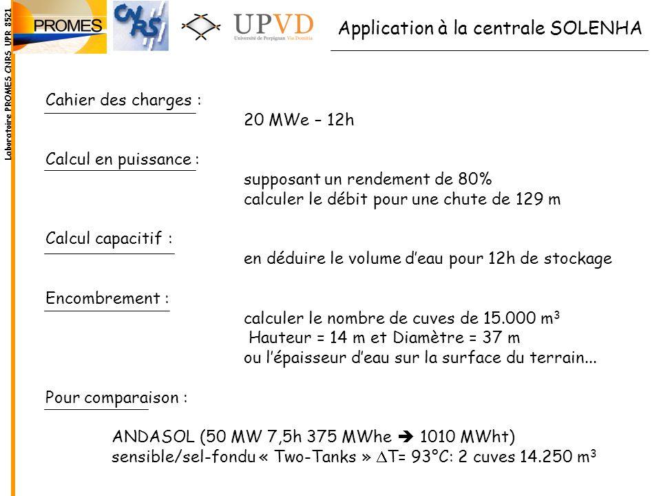 Application à la centrale SOLENHA Cahier des charges : 20 MWe – 12h Calcul en puissance : supposant un rendement de 80% calculer le débit pour une chu